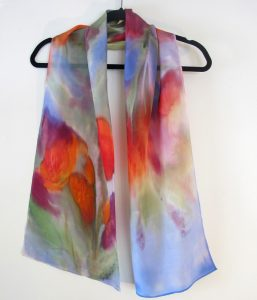 hand -painted silk scarf Pollack